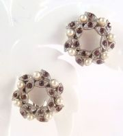 Vintage Faux Pearl And Lilac Leafy Garland Clip On Earrings.